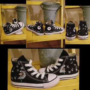 Custom freehand dandelion painted converse